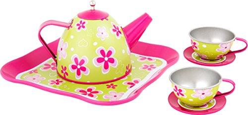 Small Foot 10511 Teeservice für Kinder mit mädchenhaften Blumenmuster in strahlenden Farben, mit Teekanne und Zwei Tassen samt Untersetzer und Tablett, toll für EIN Puppenpicknick