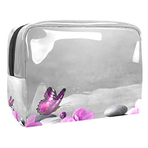 TIZORAX Trousse de toilette en PVC avec motif papillon et fleurs roses et pierres, idéale pour le voyage, pour les produits de toilette