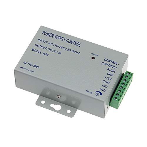 AMAO Access Control Netzteil Zugangskontrolle System Netzschalter 3A 110-240 V AC auf 12 V DC für Alle Arten Tür Access Control System Türschloss mit Zeitverzögerung K80