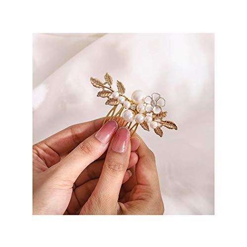 IYOU Peinetas de perlas para bodas tocados de flores de novia dorados...