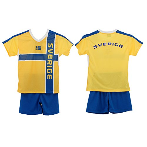 Dynamic Outwear Schweden Kinder-Trikot- Set WM 134-140 L Gelb/Blau