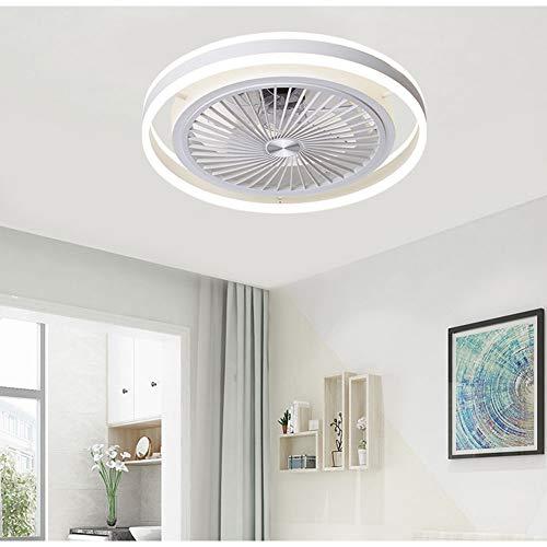 HAOXUAN Ventilador de Techo de 22 Pulgadas con luz, Moderno Ventilador Ultrafino con Control Remoto, iluminación LED de Tres Colores Regulable, con Temporizador de 3 velocidades 1/2 / 4h,Blanco