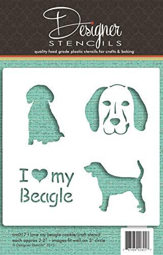 Designer Stencils - Plantilla para galletas y manualidades con texto 'I Love My Beagle CM017'