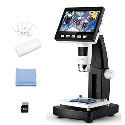 LCD Digital Microscope, Elikliv 4.3 inch 50X-1000X Endoscope Magnifier 1350P Video Recorder Camera 2MP, 8 LED Lights for Phone Repair Coin Check Jewelry Appraisal Biologic Use, 32GB, 5 Slides