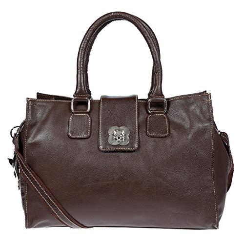 Kossberg große echt Leder Damen Umhängetasche Tasche Schultertasche Henkeltasche Shopper Bag Braun