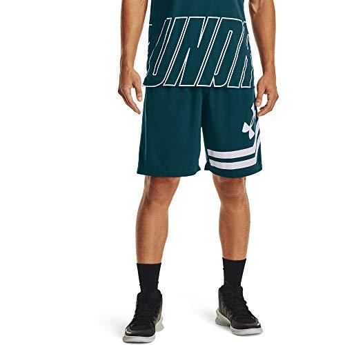 Under Armour Baseline - Pantalón corto para hombre (25,4 cm) - 1351285, Baseline - Pantalones cortos de deporte (25,4 cm), XL, Cian Oscuro (463)/Blanco