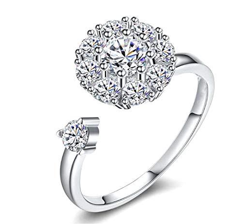 Cathercing Leuke Roterende Ring voor Vrouwen en Meisjes Boheemse Knuckle Strass Ring voor Tieners Gezamenlijke Knoop Verstelbare Ring Dagelijkse Sieraden voor Meisjes Verjaardagscadeau