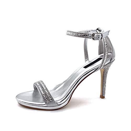 Angkorly - Modne damskie buty czółenka czółenka sandały - seksowne - Szpilka - otwarte - stringi - Szpilka - wysoki obcas 10 cm, - Srebrny - 38 EU