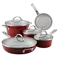 Ayesha Curry Kitchenware 10768 Porcelain Enamel Nonstick Cookware Sets, Medium, Sienna Red