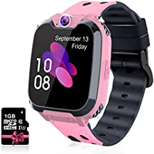 Leoninhow Kids Smartwatch - Phone Watch for Boys Girls with Phone Calls 7 Games Music MP3 Player 1GB SD Card SOS Silent Mode Smart Watch for Children Student 3-12 Years Old as Birthday Gift (Pink)
