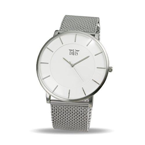 Davis 0911MB - Reloj Diseño Hombre Mujer Blanco Cuadrante Extra Plano Correa Acero Mesh Malla Milanese