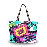 Ahomy - Borsa a tracolla da donna, grande, con manico astratto, graffiti, variopinto e arte di strada, Multicolore (Multi), L