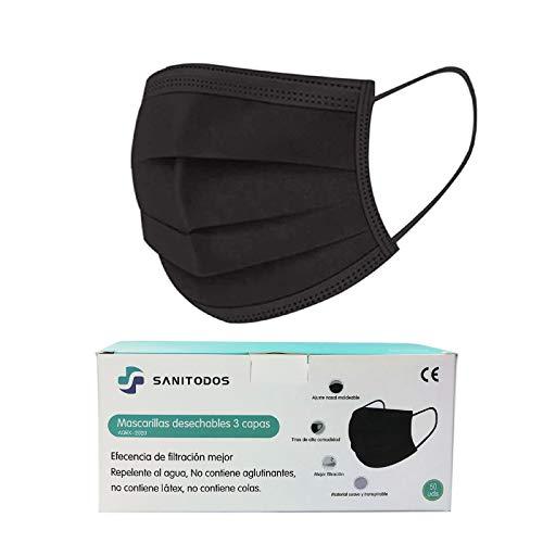 SANITODOS Mascarilla Filtrante de Protección Contra Particulares No Reutilizable Sin Válvula FFP1 NR CE 2834, Alta Eficiencia Filtración, Caja de 50 Unidades