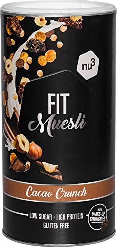 nu3 Fit Protein Muesli - Avena con proteína sabor Cacao Crunch - 450 g de muesli proteico con bayas, almendras, guaraná y matcha - 36% de proteínas y solo 4% de azúcar – Ideal en dietas sin gluten