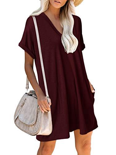 YOINS Kleider Damen Elegantes Blusenkleid Sommerkleid Knielang Kurzarm TShirtkleid Tunikakleid Locker mit Taschen