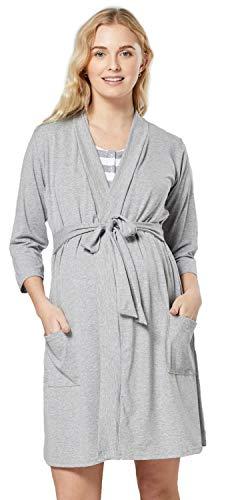 HAPPY MAMA Mujer Premama Conjunto Camisa Dormir Bata Manta Bebe 1059 (Gris con Rayas, 40, L)