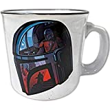 Silver Buffalo Star Wars The Mandalorian Helmet Images Ceramic Camper Coffee Mug for Cappucino, Latte or Hot Tea, 20 Oz, White (SWM425E1)