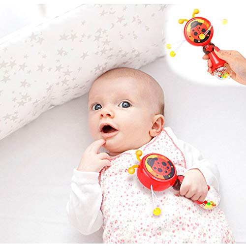 Livoty Baby Kids Flashing Music Rattles Hand Bell Toys Cute Cartoon Animal Ring Bell (Red)