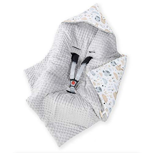 Amilian Baby Einschlagdecke, Decke, Babydecke, Fußsäck, Kuscheldecke mit Kapuze, universal für Babyschale, Autositz, Buggy Kinderwagen ca. 90x90 cm, Baumwolle, Baby Car Seat Blanket B08