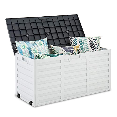LIVIVO Garden Storage Box Weatherproof Outdoor Plastic Ottoman Furniture Large Storage for Tools Toys Shed Overflow...