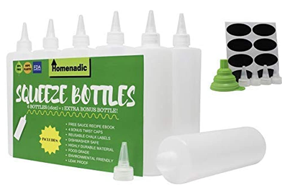 Homenadic 7-Pack Plastic Squirt Squeeze Bottle (16 Ounce) - For Ketchup, BBQ, Sauces, Arts & Crafts, Dressings - BONUS 4 Caps, Funnel, 8 Labels, Recipe E-book - BPA Free, FDA Approved, Leak Proof