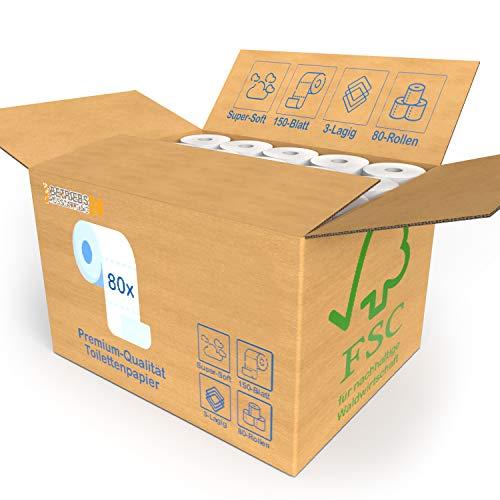 80x Rollen Toilettenpapier BULK-Verpackung XXL Vorratspack 3 Lagig - Soft Premium Qualität