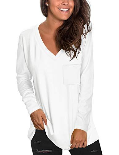 NSQTBA Womens Long Sleeve Shirts V Neck Casual Tunics to Wear with Leggings XL