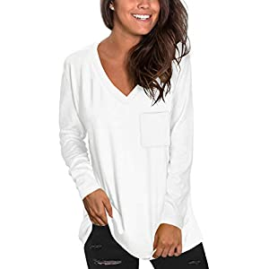 NSQTBA Womens Long Sleeve V Neck Tunic Tops Loose Casual Shirts with Pocket