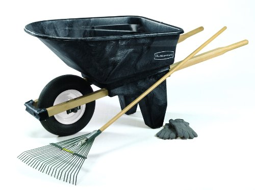 Rubbermaid Commercial Plastic Wheelbarrow, Black, 200-Pound Load Capacity, 2 Wheels, 27-1/2-Inch Height, 60-Inch Length x 27-Inch Width