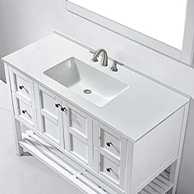 """WOODBRIDGE Surface Vanity Top 49""""x22"""" with 8"""" Faucet Holes, VT4922-1008, Solid White"""
