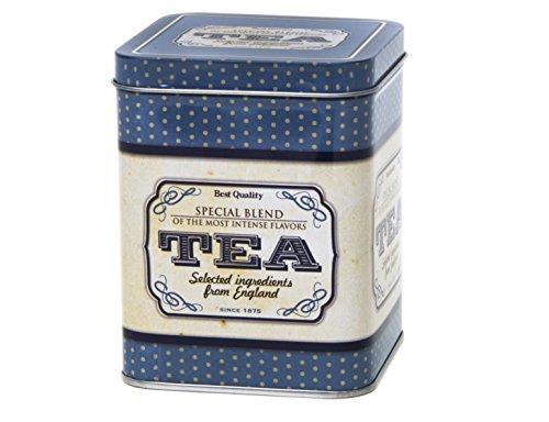 Special Blend – Caja de almacenamiento de té con tapa cuadrada con bisagras de estilo retro y vintage, 200 g, 11 cm