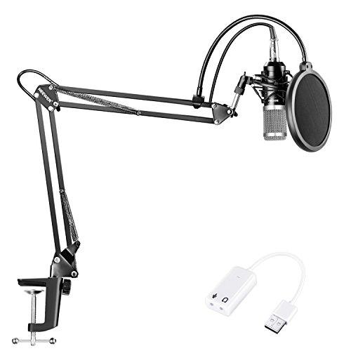 Neewer Microfono a Condensatore NW-800 Nero/Argento con Scheda Audio USB Regolabile Stand Asta Sospensione Supporto Anti-vibrazione Filtro Pop per Registrazioni Trasmissioni YouTube Live Periscope