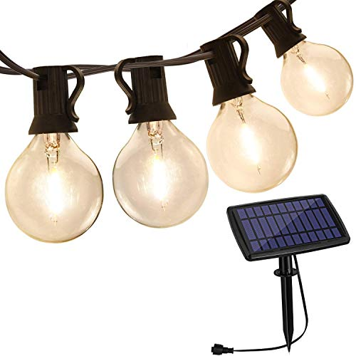 Aialun Outdoor String Lights Solar Powered, 30FT with 15 LED Shatterproof Bulbs, IP44 Waterproof Lights, Auto on/Off for Outdoor Bistro Cafe Garden Backyard Balcony Porch Gazebo Decor