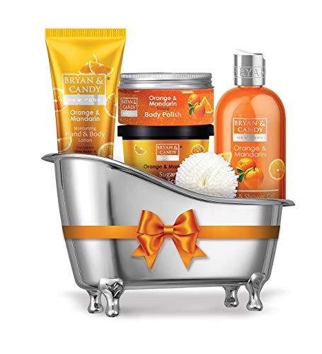 Bryan & Candy New York Orange & Mandarin Bath Tub Kit Gift For Women And Men Combo For Complete Home Spa Experience (Shower Gel, Hand & Body Lotion, Sugar Scrub, Body Polish)