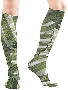 Felsiago Palm Monstera Green White Parks Medias de compresión deportivas, largas, 50 cm