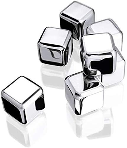Herbruikbare RVS Ice Cubes 304 Steel Ice RVS ijsblokjes bevroren ijs Grain Household Whiskey Niet Metal Block Ice Wine Iced Scotch Wijn (Kleur: 6 stuks, Maat: Een maat) ZY