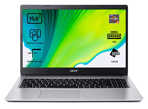 Acer Aspire 3 A315-23 - Portátil 15.6' FullHD (AMD Ryzen 3-3200U, 4GB RAM, 128GB SSD, UMA Graphics, Sin Sistema Operativo), Color Plata - Teclado QWERTY Español