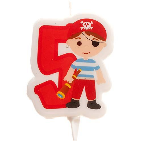 Dekora- Vela de Cumpleaños 2D de Pirata para Tartas Infantiles - Numero 5 (345259)