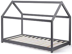 IDMarket - Lit cabane 90x190 cm Gris