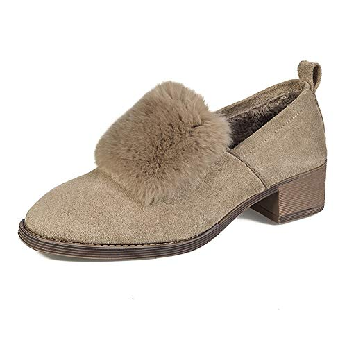 Meeshine Women's Faux Suede Slip-On Loafers Fur Lined Slippers Low Heel Flat Shoes