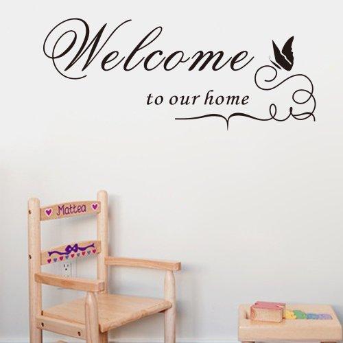 wopiaol Wandkunst Aufkleber Inspirierend Willkommen in unserem Haus PVC Words Letters Einfache abnehmbare Wandtattoos Wohnzimmer 25x60cm