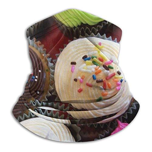 Fanqi Bunte Fleece-Halstuch Cupcake - Umkehrbarer Halswärmer - Vielseitiger Geschirrwärmer