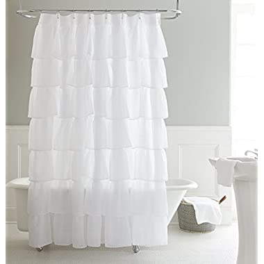 Chezmoi Collection Crushed Voile Sheer Shabby Chic Ruffle Shower Curtain with Rings (White)