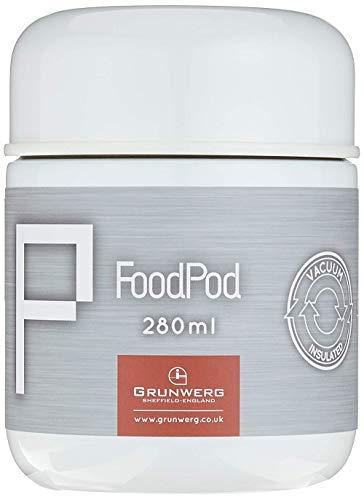 Pioneer FoodPod Thermo-Speisebehälter 280 ml Edelstahl Doppelwandig Isolierbecher für Lebensmittel 6 Stunden Heiß 24 Stunden Kühl Auslaufsicher BPA-Frei – Weiß