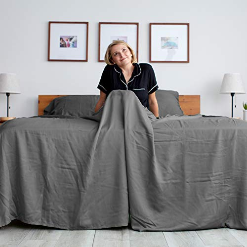 Sheets & Giggles 100% Eucalyptus Lyocell Sheet Set. Our All-Season Eucalyptus Sheets are Sustainably Made, Naturally Cooling, Super Soft, Moisture-Wicking, Chemical-Free, Hypoallergenic – King, Grey