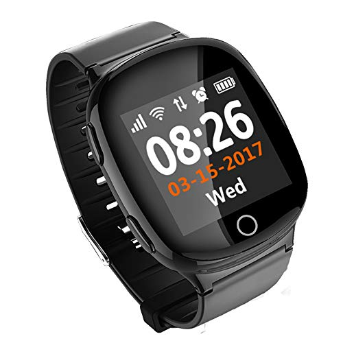 ZLI Rastreador de Actividad para Personas Mayores, con Monitor de frecuencia cardíaca Monitoreo de Alarma de caída Recordatorio sedentario Llamar a SMS Presionar de Primera tecla Pulsar SOS,Black