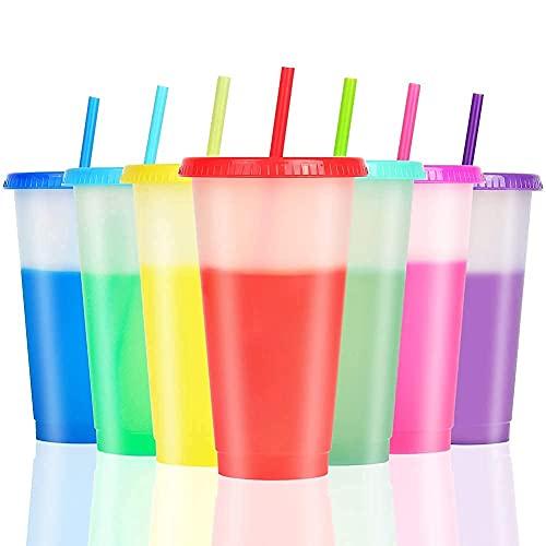 Farbwechsel Becher - 710ml Plastikbecher Trinkbecher mit Strohhalm & Deckel - 7 Farben BPA Frei Wiederverwendbar Durchsichtig Kaffeebecher to go Reisebecher Tasse Kinder Erwachsene Plastik Trinkbecher