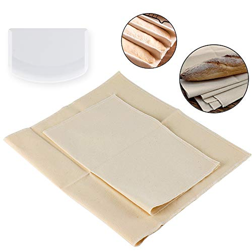 Kuqqi 2 Pack Bakers Dough Couche Proofing Cloth Thick Cotton Pastry Cloth 1 Pcs 14×17 Inch and 1 Pcs 17×29 Inch with a Plastic Dough Scraper(white)