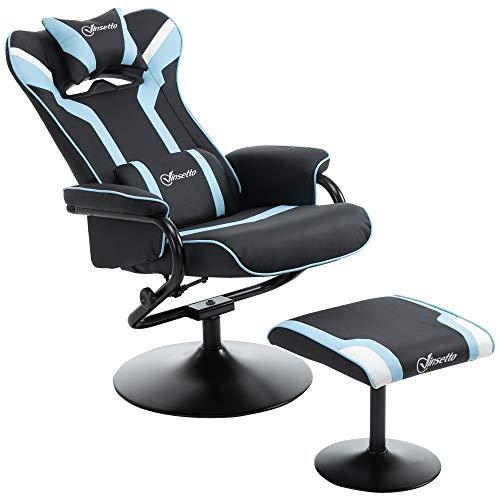 Vinsetto Set 2 Pezzi Poltrona Reclinabile con Poggiapiedi Stile Gaming, Inclinazione 130° e Supporto Lombare, Nero e Azzurro
