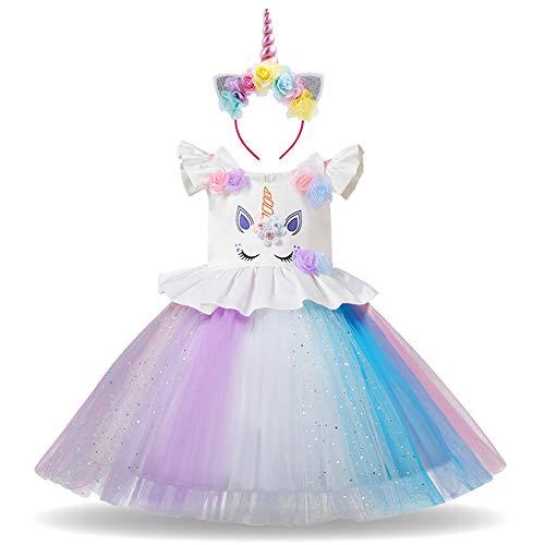 OBEEII Einhorn Kleid Mädchen Cosplay Party Kostüm Prinzessin Tutu Rock für Geburtstagsfest Festlich Performance Festzug Karneval Halloween Weihnachten Foto-Shooting für Baby Kinder 6-7 Jahre
